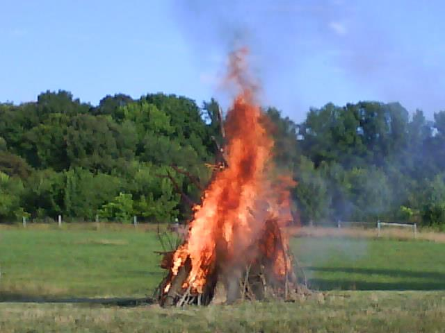 The bonfire celebrating Sonnenwendfeier. Blob's Park 2011.