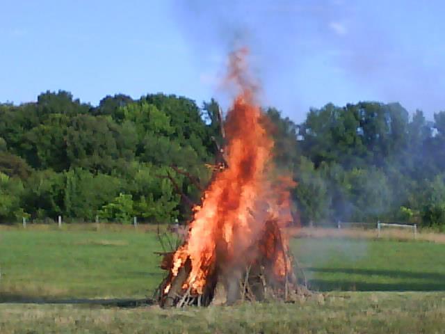 The bonfire celebrating Sonnenwendfeier. Blob's Park 2011.